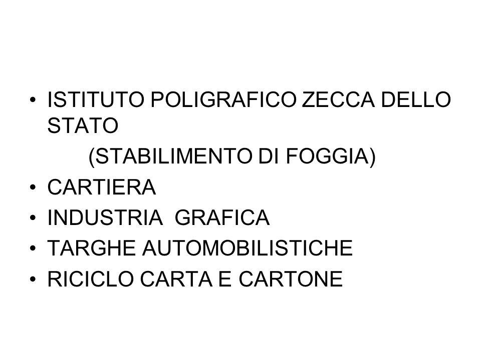 ISTITUTO POLIGRAFICO ZECCA DELLO STATO (STABILIMENTO DI FOGGIA) CARTIERA INDUSTRIA GRAFICA TARGHE AUTOMOBILISTICHE RICICLO CARTA E CARTONE