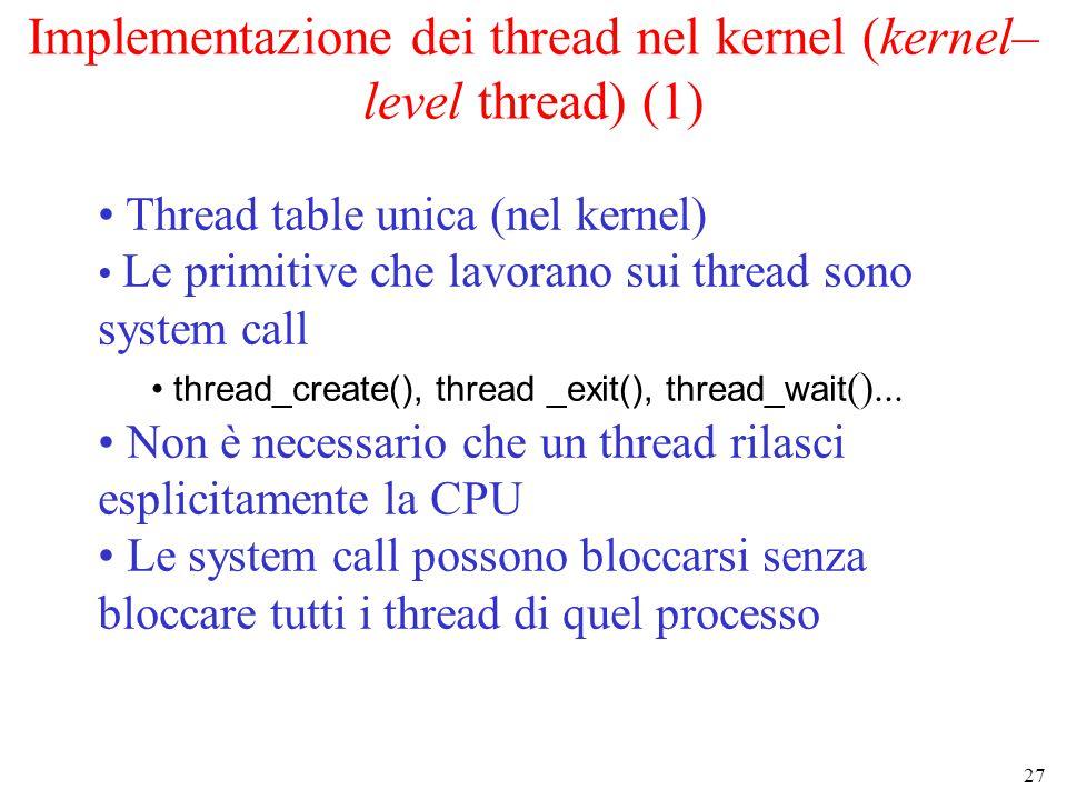 27 Implementazione dei thread nel kernel (kernel– level thread) (1) Thread table unica (nel kernel) Le primitive che lavorano sui thread sono system call thread_create(), thread _exit(), thread_wait ()...