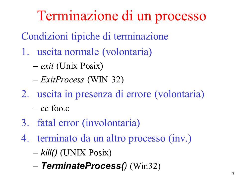 5 Terminazione di un processo Condizioni tipiche di terminazione 1.uscita normale (volontaria) –exit (Unix Posix) –ExitProcess (WIN 32) 2.uscita in presenza di errore (volontaria) –cc foo.c 3.fatal error (involontaria) 4.terminato da un altro processo (inv.) – kill() (UNIX Posix) – TerminateProcess() (Win32)