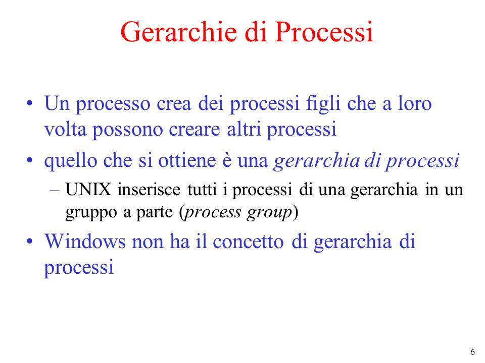 6 Gerarchie di Processi Un processo crea dei processi figli che a loro volta possono creare altri processi quello che si ottiene è una gerarchia di processi –UNIX inserisce tutti i processi di una gerarchia in un gruppo a parte (process group) Windows non ha il concetto di gerarchia di processi