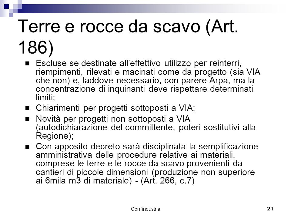 Confindustria21 Terre e rocce da scavo (Art.