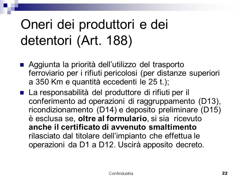Confindustria22 Oneri dei produttori e dei detentori (Art.