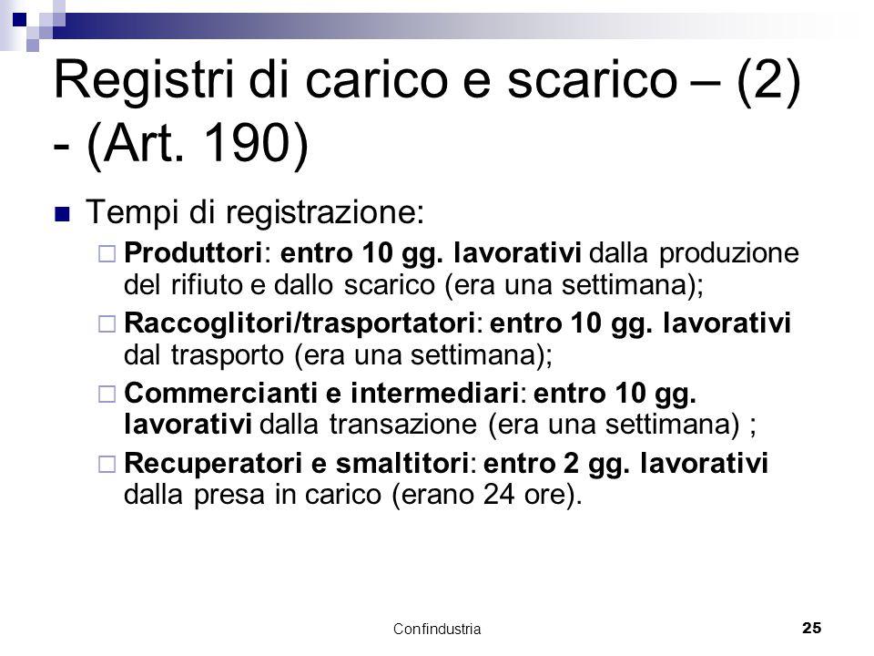Confindustria25 Registri di carico e scarico – (2) - (Art.