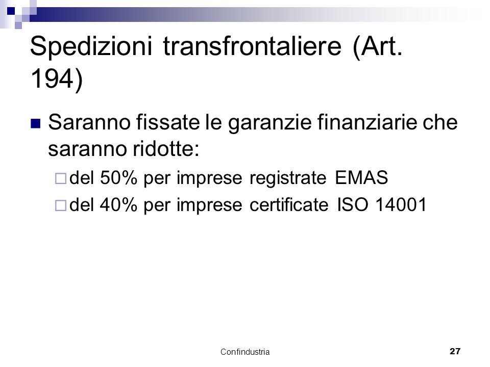 Confindustria27 Spedizioni transfrontaliere (Art.