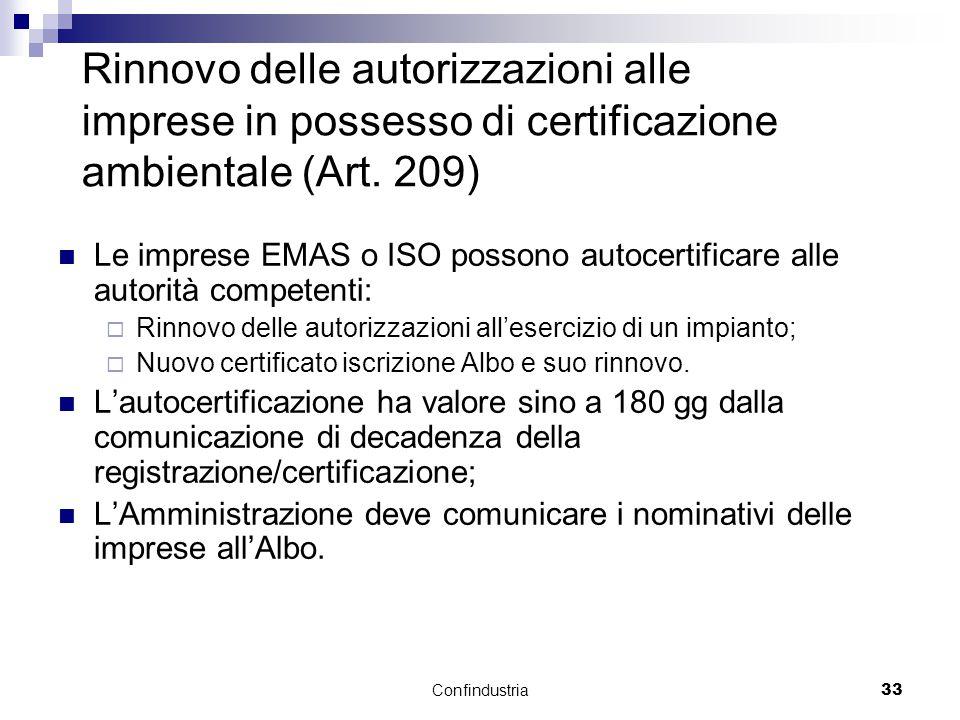 Confindustria33 Rinnovo delle autorizzazioni alle imprese in possesso di certificazione ambientale (Art.