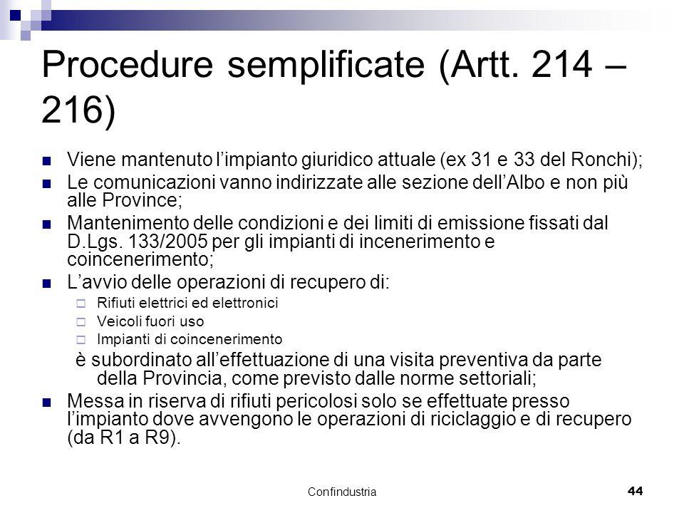 Confindustria44 Procedure semplificate (Artt.