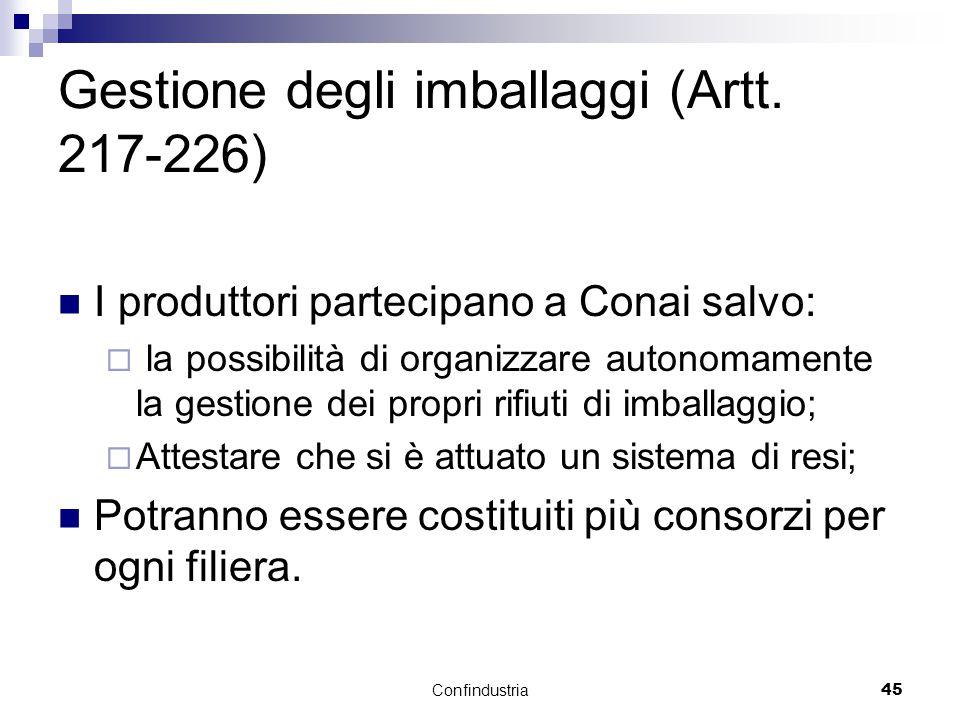 Confindustria45 Gestione degli imballaggi (Artt.