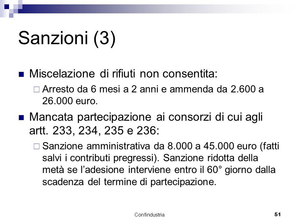 Confindustria51 Sanzioni (3) Miscelazione di rifiuti non consentita:  Arresto da 6 mesi a 2 anni e ammenda da 2.600 a 26.000 euro.