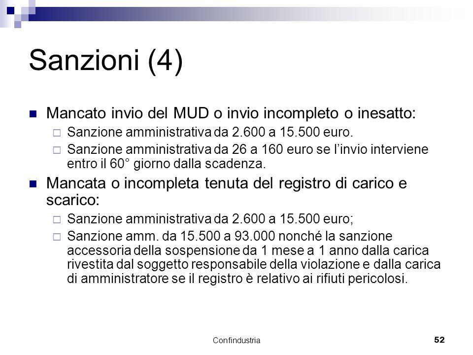 Confindustria52 Sanzioni (4) Mancato invio del MUD o invio incompleto o inesatto:  Sanzione amministrativa da 2.600 a 15.500 euro.