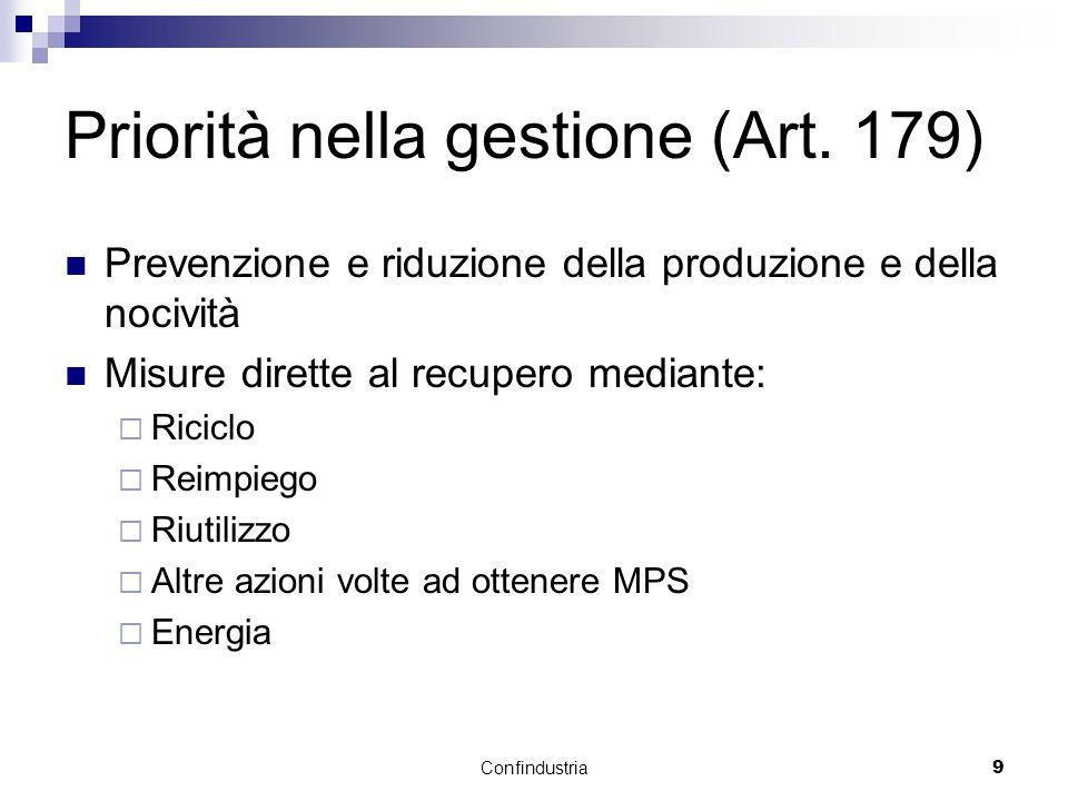 Confindustria9 Priorità nella gestione (Art.