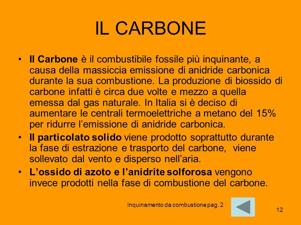 12 IL CARBONE Il Carbone è il combustibile fossile più inquinante, a causa della massiccia emissione di anidride carbonica durante la sua combustione.