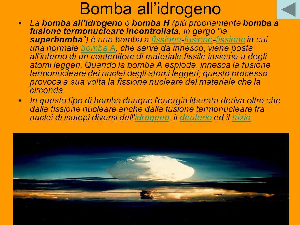 25 Bomba all'idrogeno La bomba all'idrogeno o bomba H (più propriamente bomba a fusione termonucleare incontrollata, in gergo