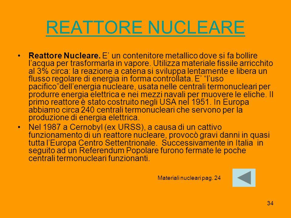 34 REATTORE NUCLEARE Reattore Nucleare. E' un contenitore metallico dove si fa bollire l'acqua per trasformarla in vapore. Utilizza materiale fissile