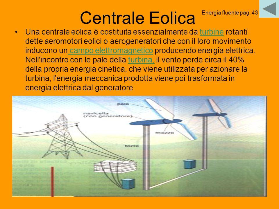 44 Centrale Eolica Una centrale eolica è costituita essenzialmente da turbine rotanti dette aeromotori eolici o aerogeneratori che con il loro movimen