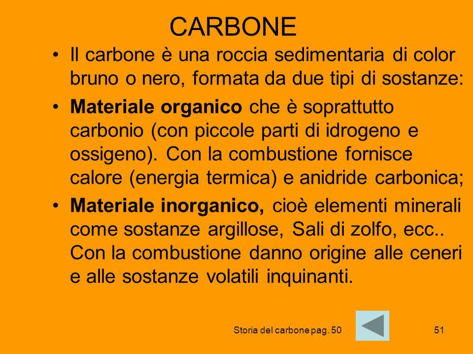 51 CARBONE Il carbone è una roccia sedimentaria di color bruno o nero, formata da due tipi di sostanze: Materiale organico che è soprattutto carbonio