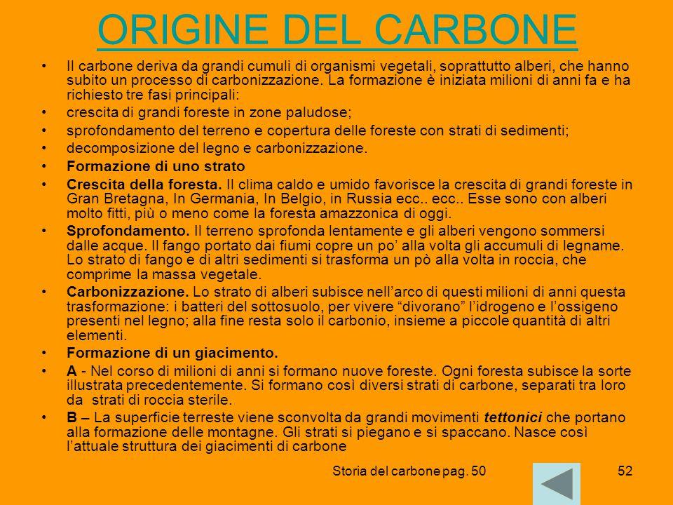 52 ORIGINE DEL CARBONE Il carbone deriva da grandi cumuli di organismi vegetali, soprattutto alberi, che hanno subito un processo di carbonizzazione.