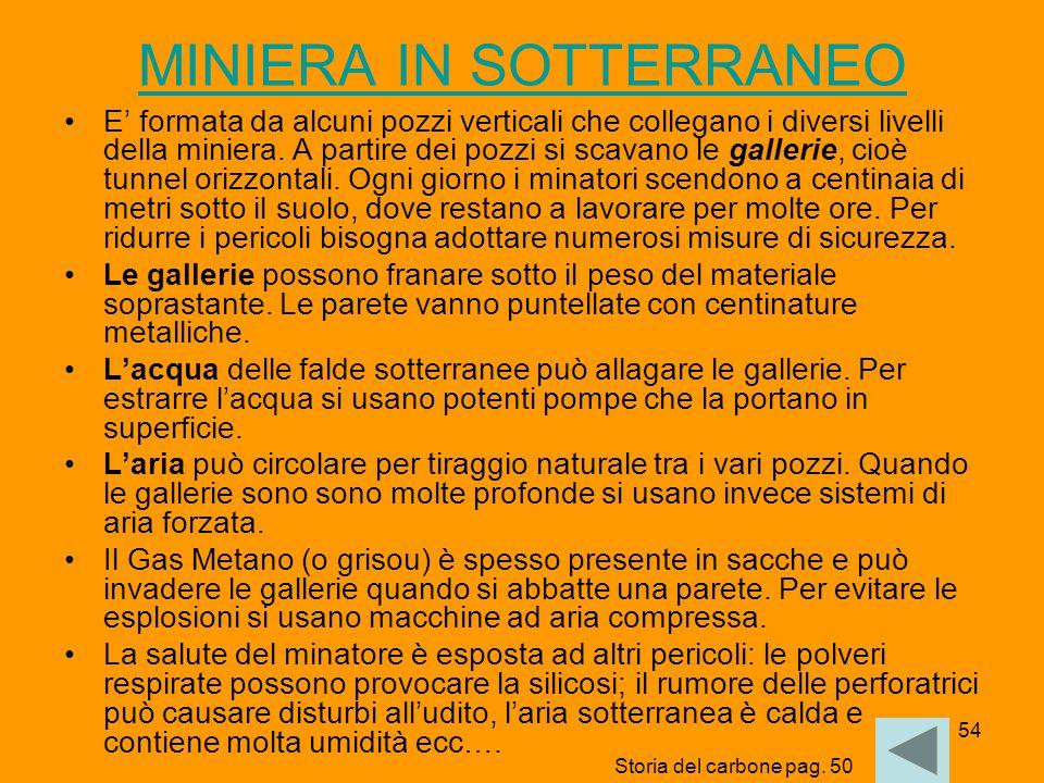 54 MINIERA IN SOTTERRANEO E' formata da alcuni pozzi verticali che collegano i diversi livelli della miniera. A partire dei pozzi si scavano le galler
