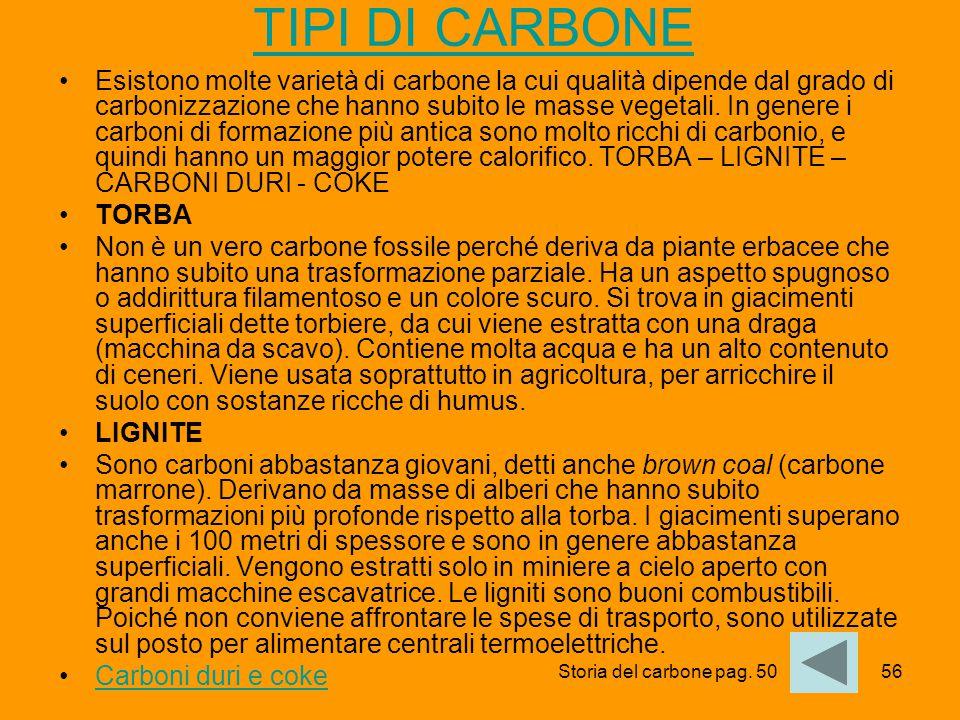56 TIPI DI CARBONE Esistono molte varietà di carbone la cui qualità dipende dal grado di carbonizzazione che hanno subito le masse vegetali. In genere