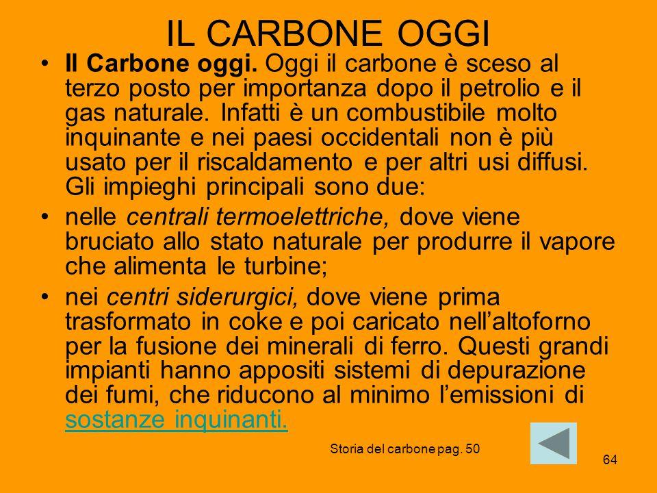 64 IL CARBONE OGGI Il Carbone oggi. Oggi il carbone è sceso al terzo posto per importanza dopo il petrolio e il gas naturale. Infatti è un combustibil