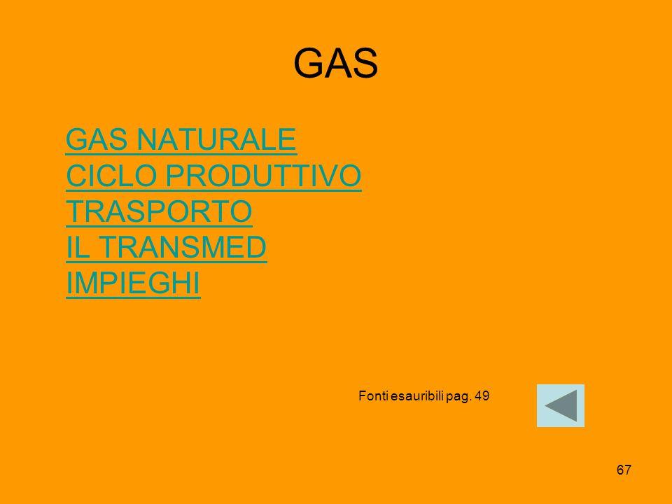 67 GAS GAS NATURALE CICLO PRODUTTIVO TRASPORTO IL TRANSMED IMPIEGHIGAS NATURALE CICLO PRODUTTIVO TRASPORTO IL TRANSMED IMPIEGHI Fonti esauribili pag.