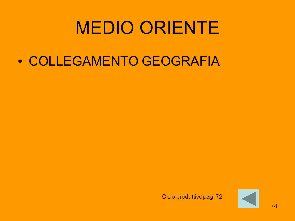 74 MEDIO ORIENTE COLLEGAMENTO GEOGRAFIA Ciclo produttivo pag. 72