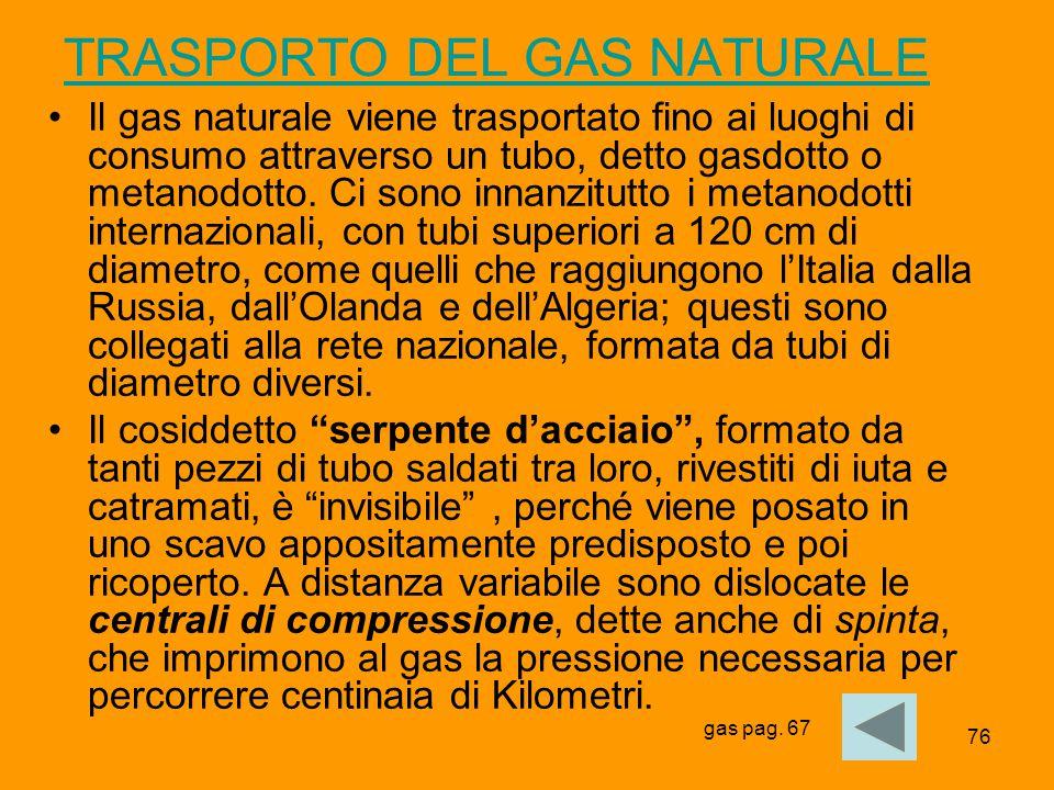 76 TRASPORTO DEL GAS NATURALE Il gas naturale viene trasportato fino ai luoghi di consumo attraverso un tubo, detto gasdotto o metanodotto. Ci sono in