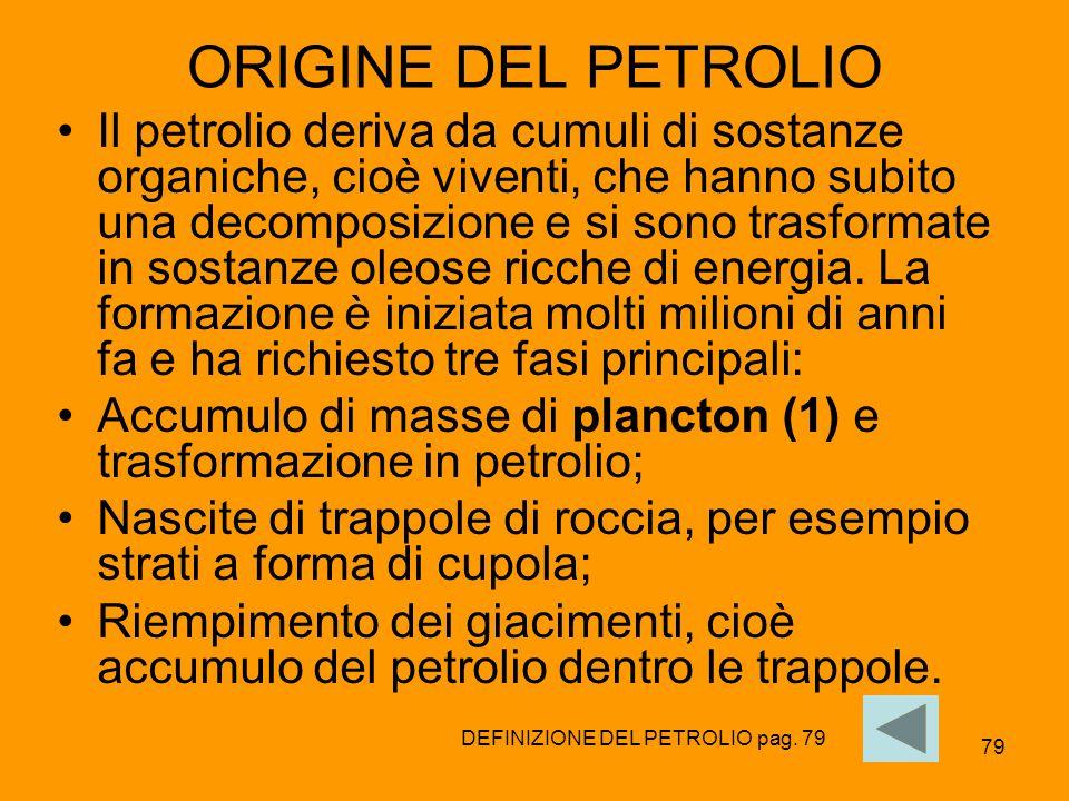 79 ORIGINE DEL PETROLIO Il petrolio deriva da cumuli di sostanze organiche, cioè viventi, che hanno subito una decomposizione e si sono trasformate in
