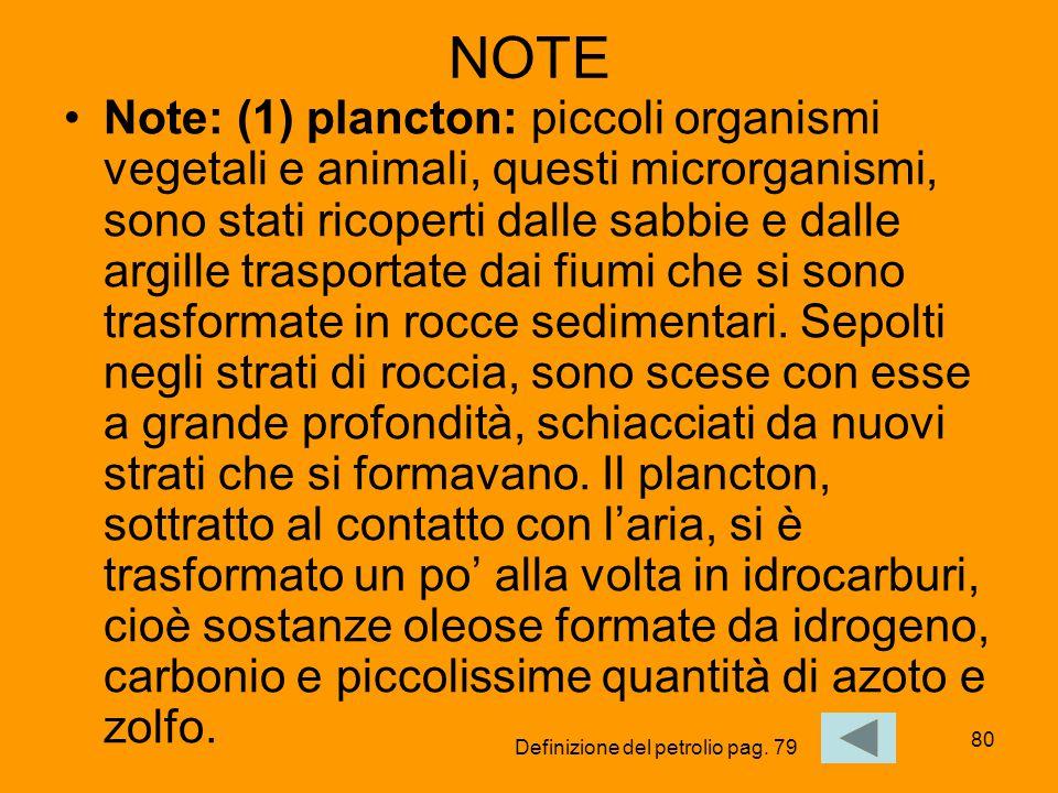80 NOTE Note: (1) plancton: piccoli organismi vegetali e animali, questi microrganismi, sono stati ricoperti dalle sabbie e dalle argille trasportate