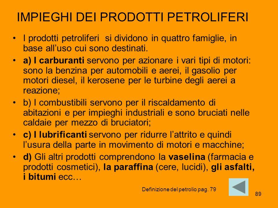 89 IMPIEGHI DEI PRODOTTI PETROLIFERI I prodotti petroliferi si dividono in quattro famiglie, in base all'uso cui sono destinati. a) I carburanti servo