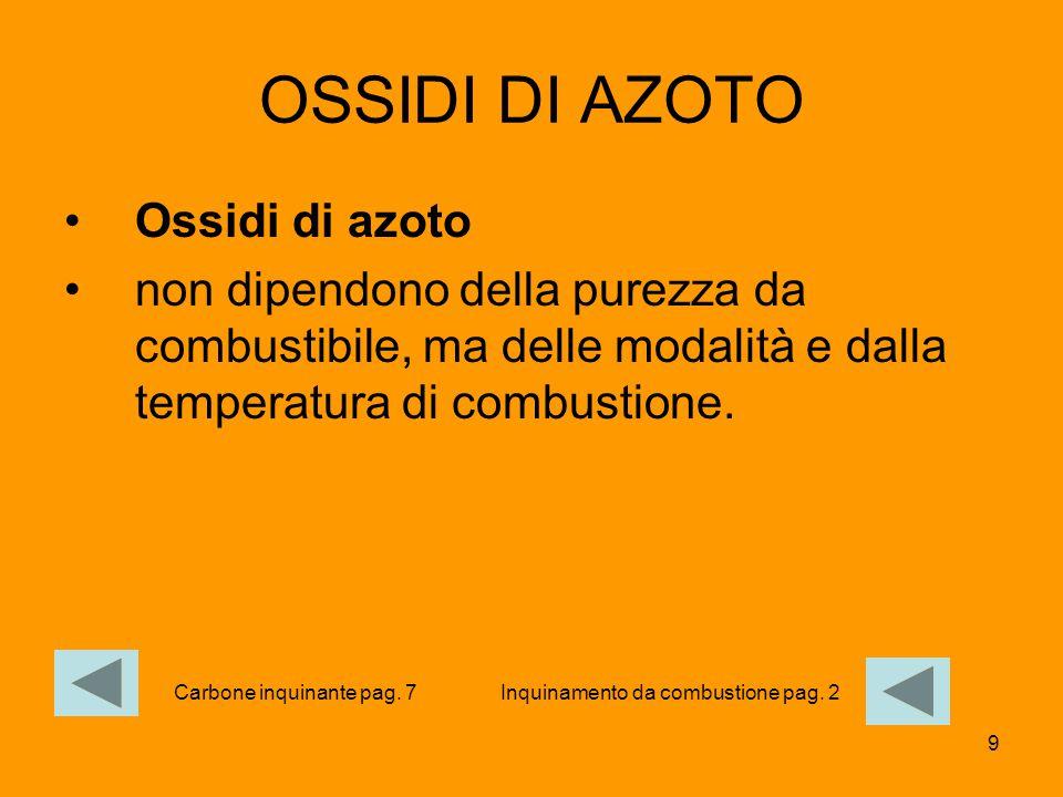 9 OSSIDI DI AZOTO Ossidi di azoto non dipendono della purezza da combustibile, ma delle modalità e dalla temperatura di combustione. Inquinamento da c