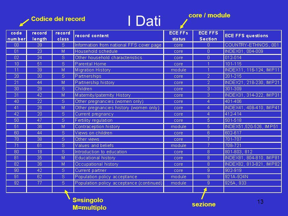 13 I Dati Codice del record S=singolo M=multiplo core / module sezione