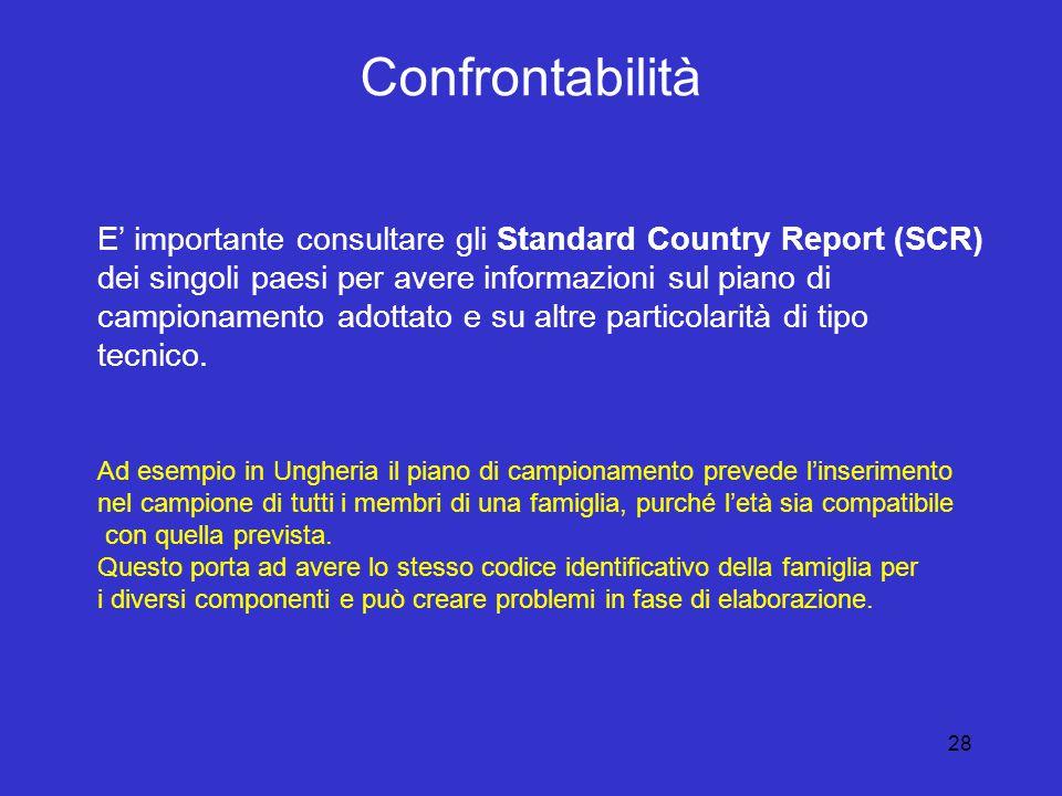 28 Confrontabilità E' importante consultare gli Standard Country Report (SCR) dei singoli paesi per avere informazioni sul piano di campionamento adottato e su altre particolarità di tipo tecnico.