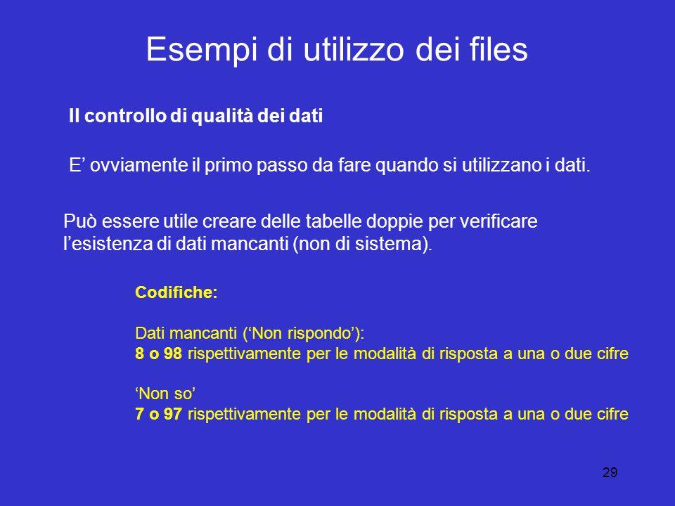 29 Esempi di utilizzo dei files Il controllo di qualità dei dati E' ovviamente il primo passo da fare quando si utilizzano i dati.
