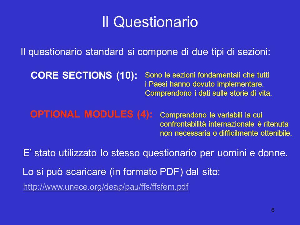 6 Il Questionario Il questionario standard si compone di due tipi di sezioni: CORE SECTIONS (10): OPTIONAL MODULES (4): Sono le sezioni fondamentali che tutti i Paesi hanno dovuto implementare.