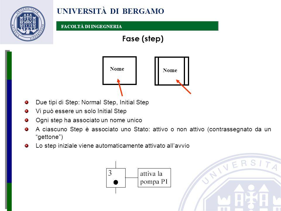 UNIVERSITÀ DI BERGAMO FACOLTÀ DI INGEGNERIA Due tipi di Step: Normal Step, Initial Step Vi può essere un solo Initial Step Ogni step ha associato un n