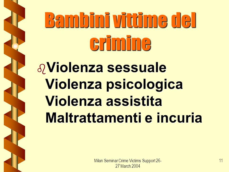 Milan Seminar Crime Victims Support 26- 27 March 2004 11 Bambini vittime del crimine b Violenza sessuale Violenza psicologica Violenza assistita Maltr