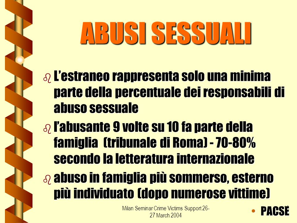Milan Seminar Crime Victims Support 26- 27 March 2004 13 ABUSI SESSUALI b L'estraneo rappresenta solo una minima parte della percentuale dei responsab
