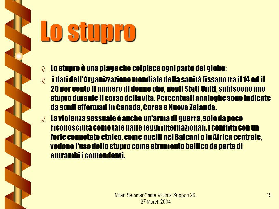 Milan Seminar Crime Victims Support 26- 27 March 2004 19 Lo stupro b b Lo stupro è una piaga che colpisce ogni parte del globo: b b i dati dell'Organi