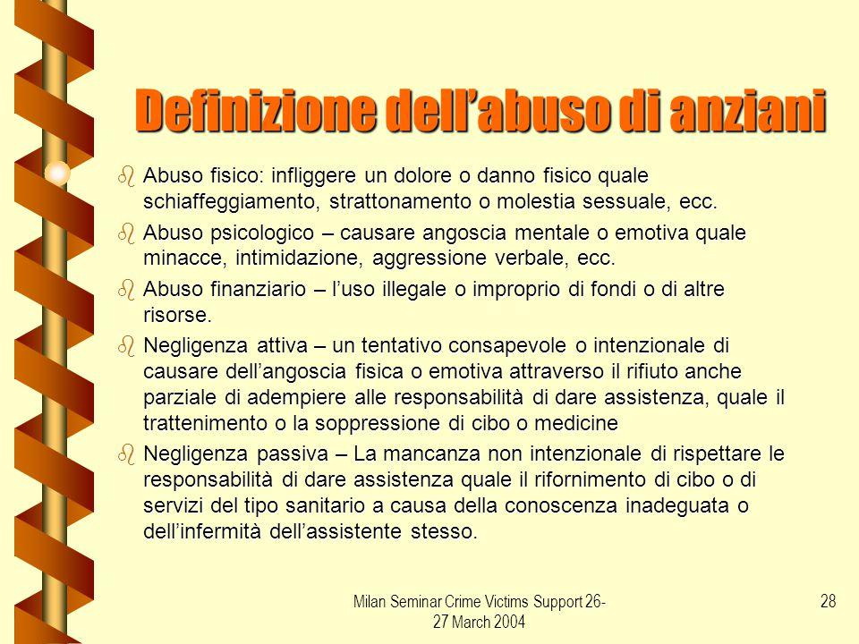 Milan Seminar Crime Victims Support 26- 27 March 2004 28 Definizione dell'abuso di anziani bAbuso fisico: infliggere un dolore o danno fisico quale sc