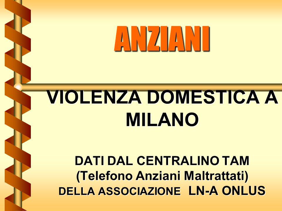 ANZIANI VIOLENZA DOMESTICA A MILANO DATI DAL CENTRALINO TAM (Telefono Anziani Maltrattati) DELLA ASSOCIAZIONE LN-A ONLUS