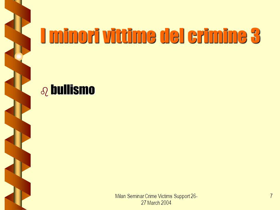 Milan Seminar Crime Victims Support 26- 27 March 2004 8 Le donne vittime del crimine Le donne vittime del crimine b Violenze sessuali b violenze domestiche b omicidi (femicide) b prostituzione b mobbing