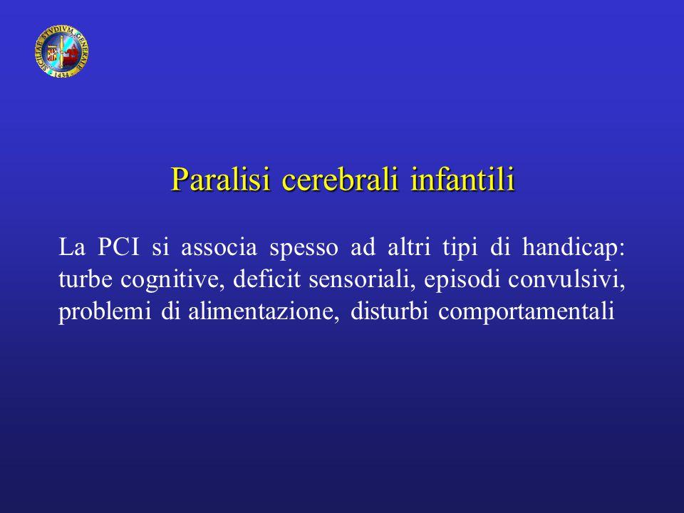 Paralisi cerebrali infantili La PCI si associa spesso ad altri tipi di handicap: turbe cognitive, deficit sensoriali, episodi convulsivi, problemi di alimentazione, disturbi comportamentali