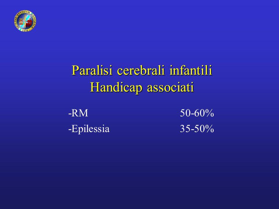 Paralisi cerebrali infantili Handicap associati -RM 50-60% -Epilessia35-50%