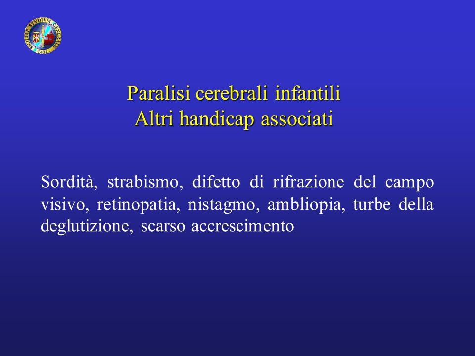 Paralisi cerebrali infantili Altri handicap associati Sordità, strabismo, difetto di rifrazione del campo visivo, retinopatia, nistagmo, ambliopia, turbe della deglutizione, scarso accrescimento