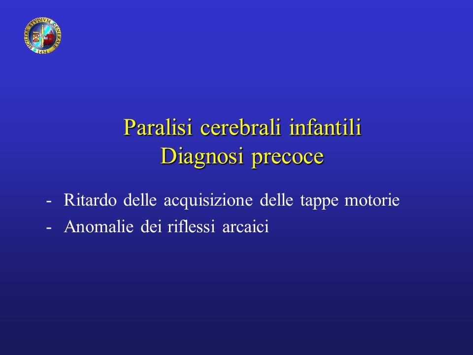 Paralisi cerebrali infantili Diagnosi precoce -Ritardo delle acquisizione delle tappe motorie -Anomalie dei riflessi arcaici