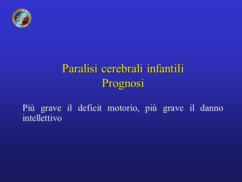 Paralisi cerebrali infantili Prognosi Più grave il deficit motorio, più grave il danno intellettivo