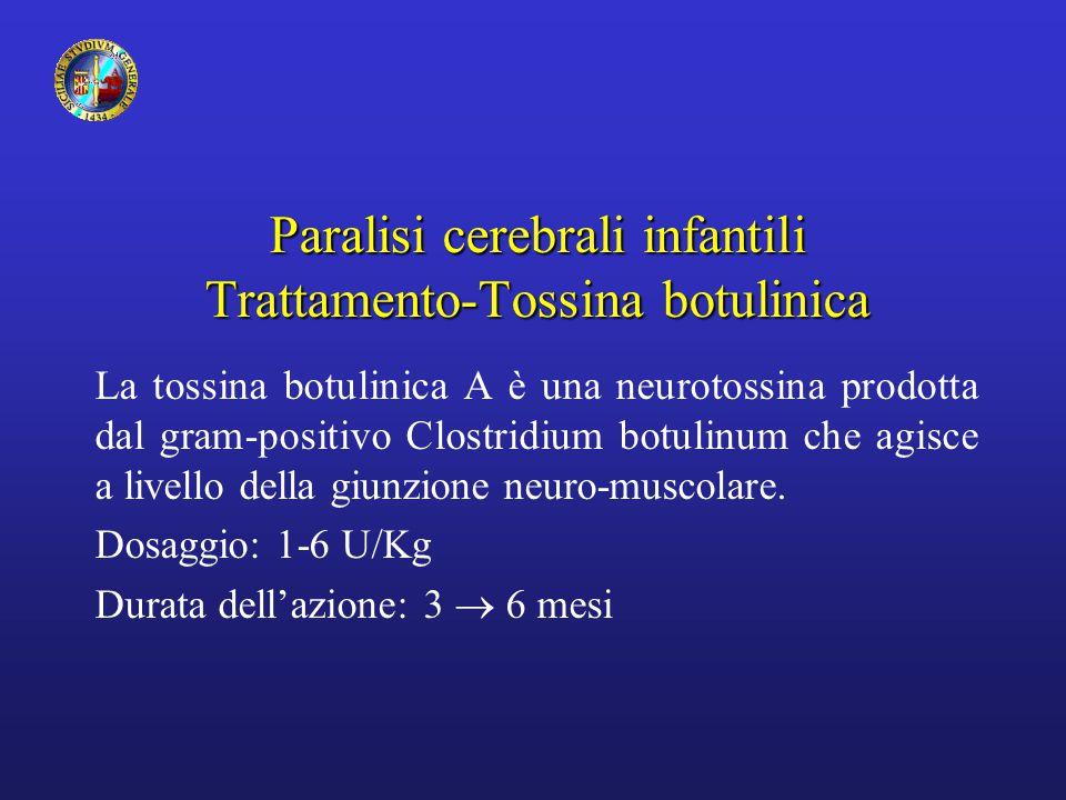 Paralisi cerebrali infantili Trattamento-Tossina botulinica La tossina botulinica A è una neurotossina prodotta dal gram-positivo Clostridium botulinum che agisce a livello della giunzione neuro-muscolare.