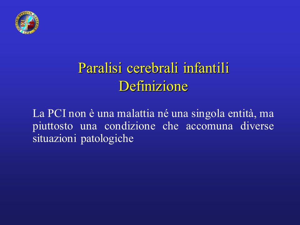 Paralisi cerebrali infantili Definizione Comprende: 1.Interessamento motorio 2.Origine cerebrale della lesione 3.Non progressività 4.Coinvolgimento precoce del SNC