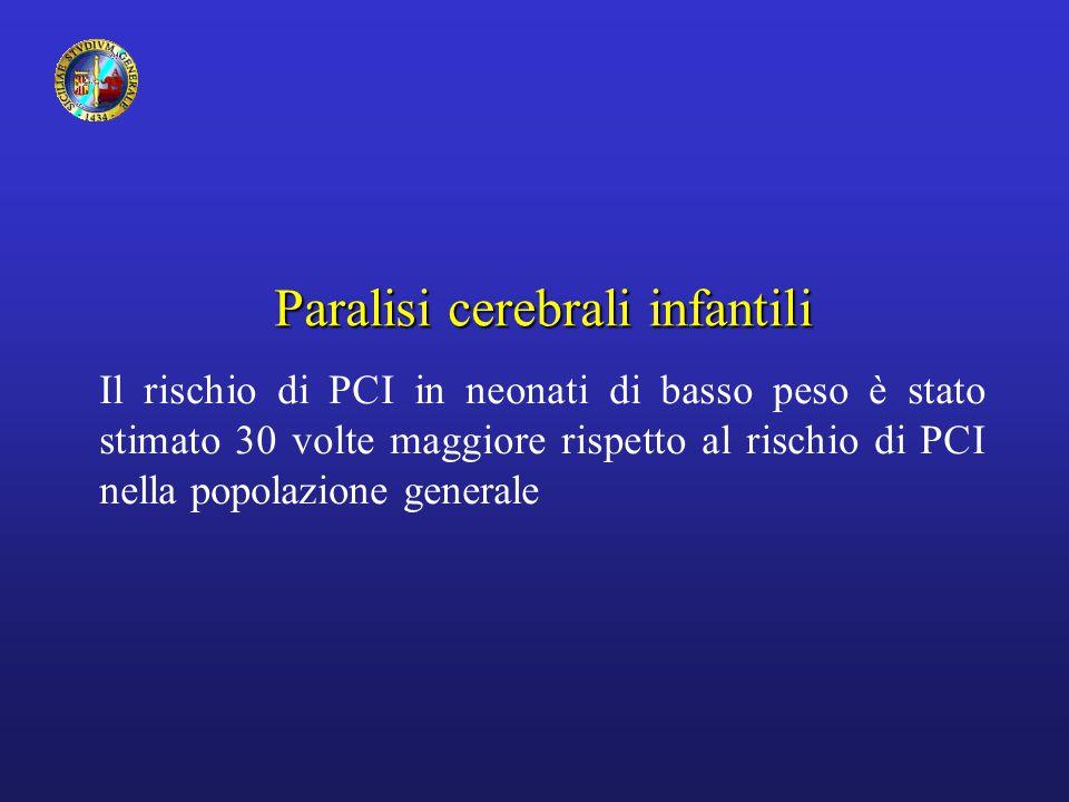 Paralisi cerebrali infantili Il rischio di PCI in neonati di basso peso è stato stimato 30 volte maggiore rispetto al rischio di PCI nella popolazione generale