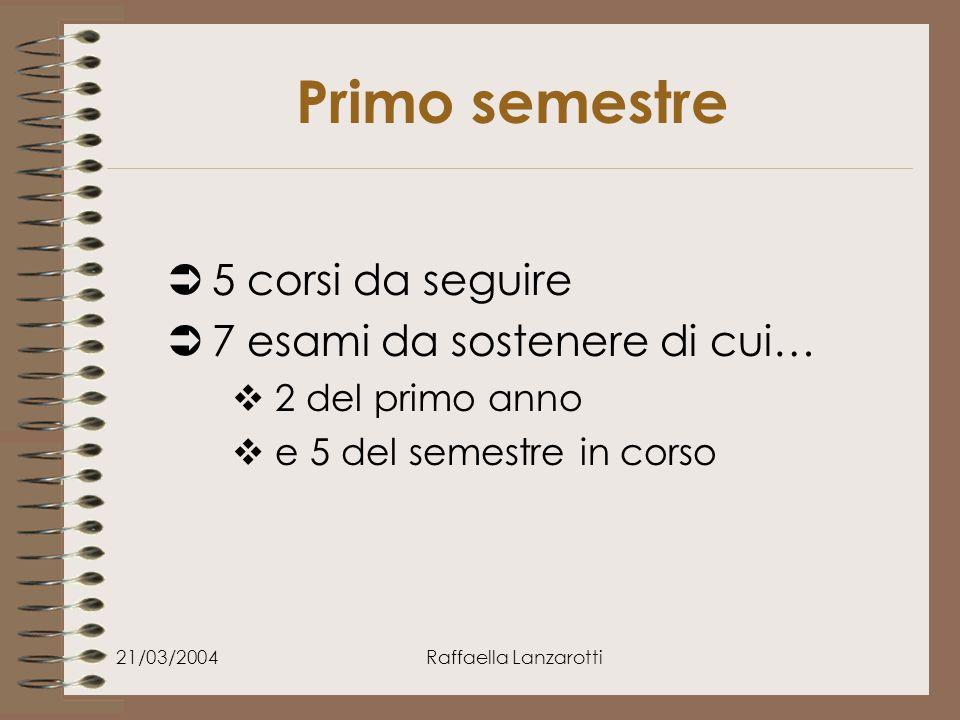21/03/2004Raffaella Lanzarotti Primo semestre  5 corsi da seguire  7 esami da sostenere di cui…  2 del primo anno  e 5 del semestre in corso